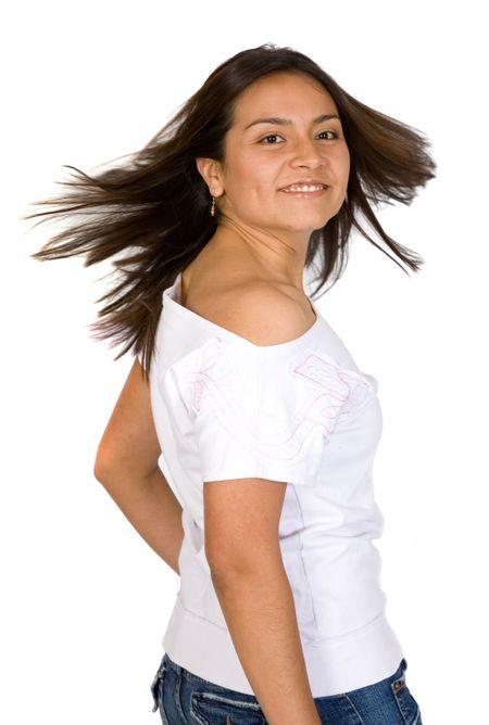 beautiful fun girl portrait over a white background