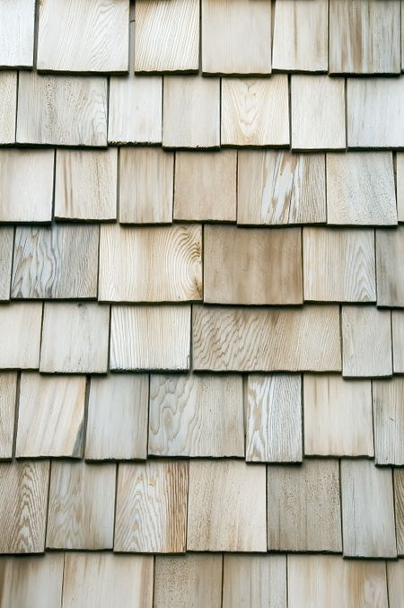 Exterior siding of wooden shingles