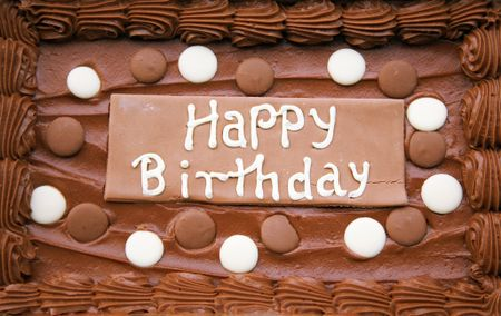 birthday cake in chocolate flavour with the words happy birthday
