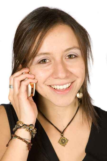 beautiful girl talking on the phone over white