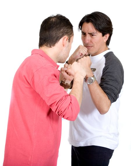 casual guys fighting over a white background
