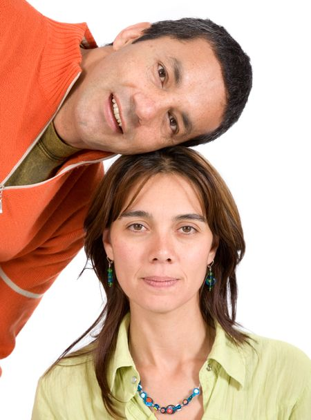 couple smiling - casual over a white background