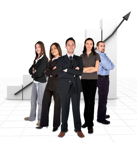 business team in front of a graph over white