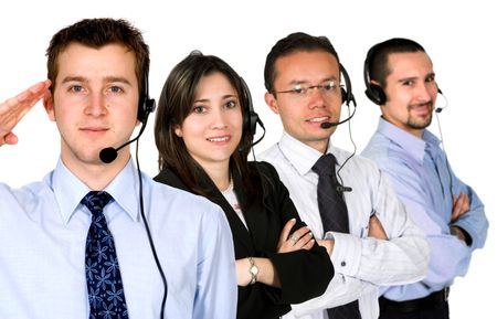 business customer service team over a white background