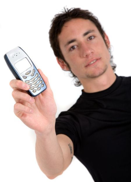 casual guy showing his mobile over white