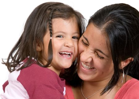 girl with her mum having a laugh over a white background 2