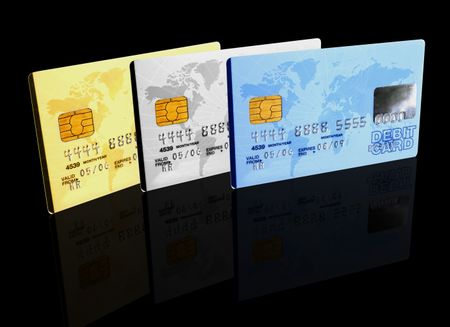 credit cards over a black background - note the design of the card is my own and the numbers on the card are made up
