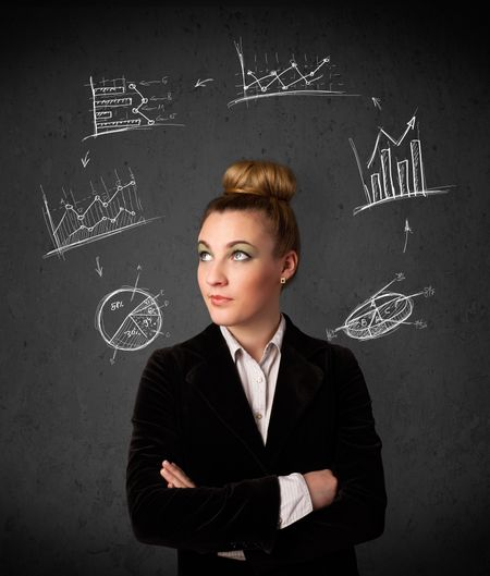 Thoughtful young woman with drawn charts circulating around her head