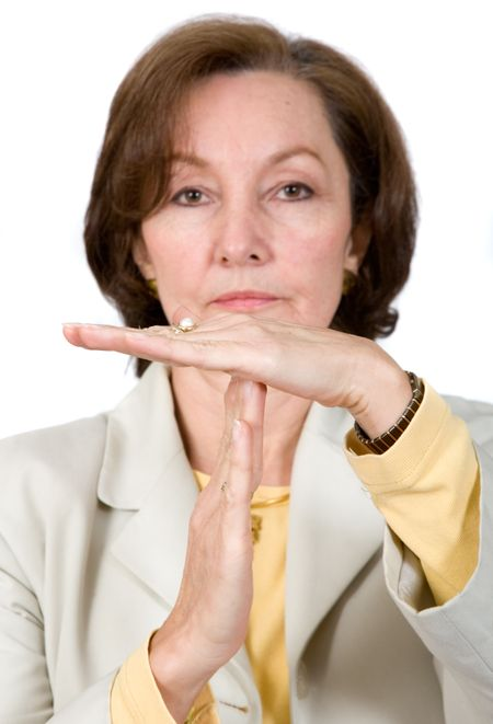 business break - woman signaling a time out over a white background