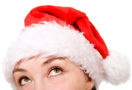 female santa looking up over a white background