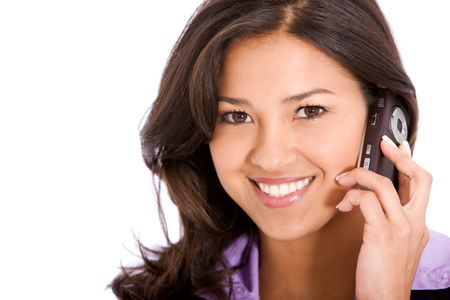 business customer support operator woman smiling - isolated