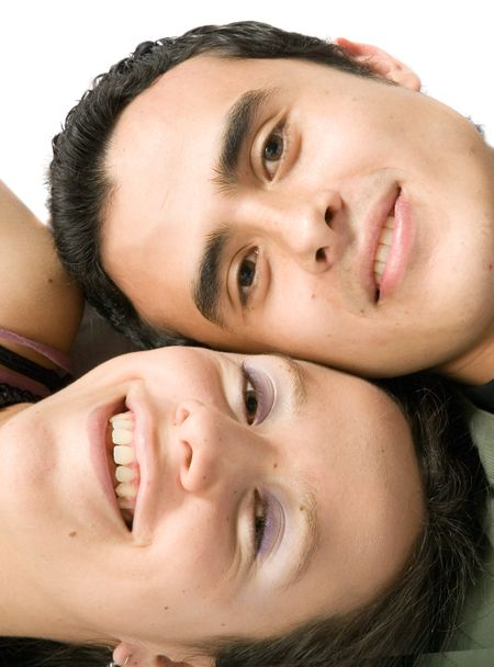 couple close up - heads together on the floor over white