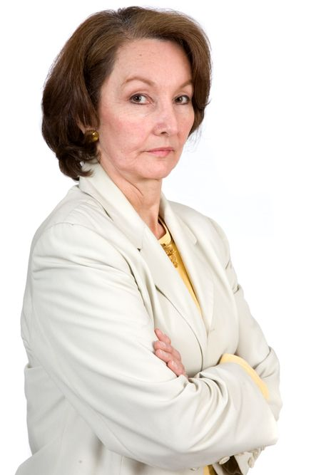 Business Senior Woman over a white background