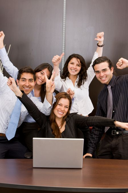 business team full of success online in an office