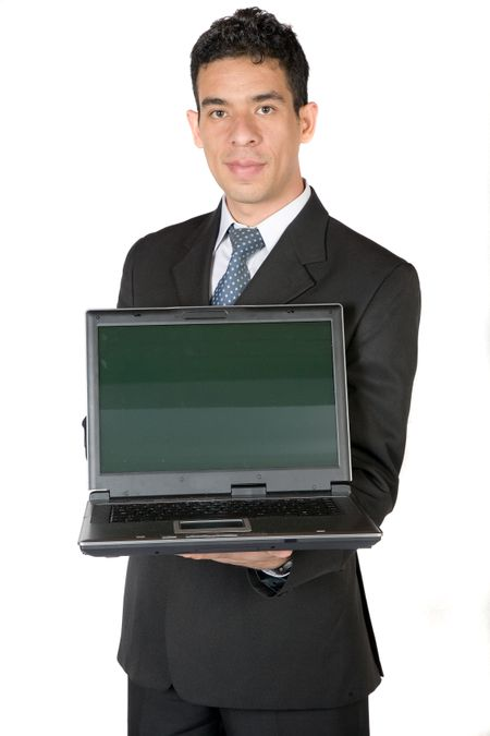 business man with laptop over a white background
