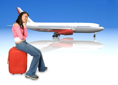 girl sitting on a suitcase dreaming of her vacations over white with a 3d airplane in the background