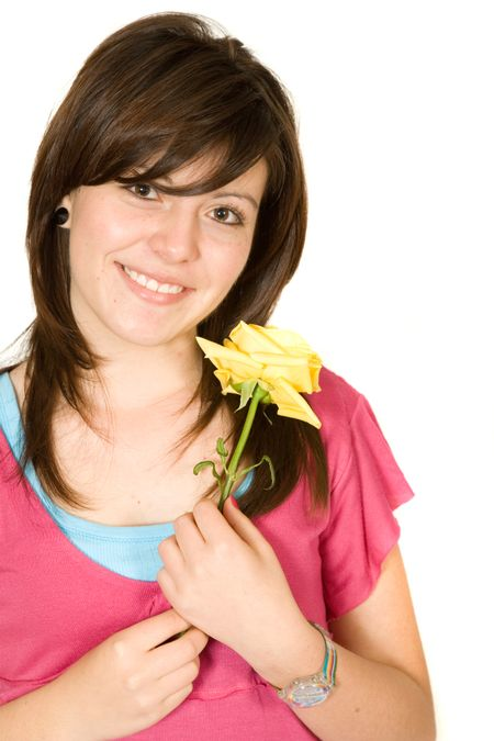beautiful girl with flower over a white background