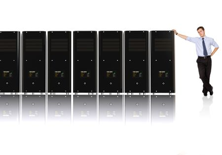 Business man and his network - 3d rendered servers, high detail even on servers screens
