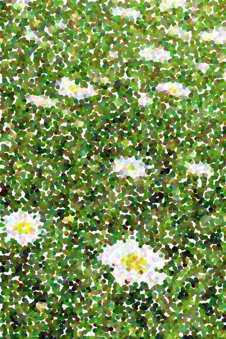 Pointillist abstract of daisies, like a mosaic, in midsummer garden