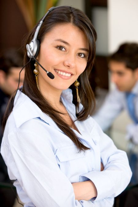 business customer service woman smiling in an office