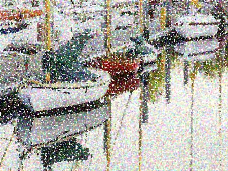 Abstract of pointillized sailboats in marina