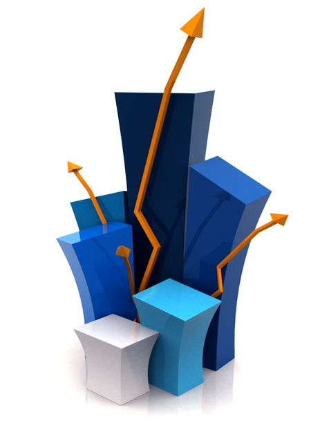3d growth illustration over a white background