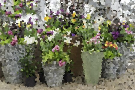 Crystallized abstract of floral display with multiple tall containers in spring