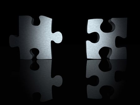 3d puzzle pieces with a metallic texture over black