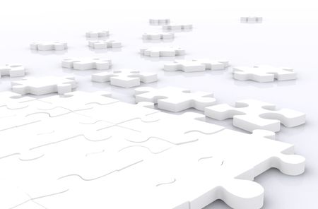 unresolved puzzle in white made in 3d