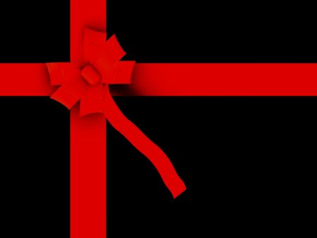 black gift with red ribbon made in 3d