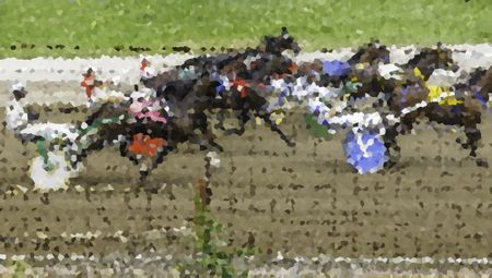 Crystallized illustration of drivers and horses in a harness race