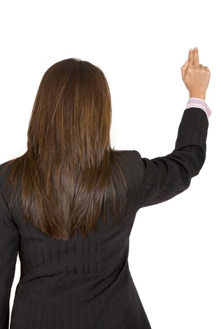 business woman pointing at something over white