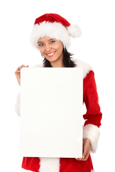 Female santa holding a christmas white card - isolated over a white background