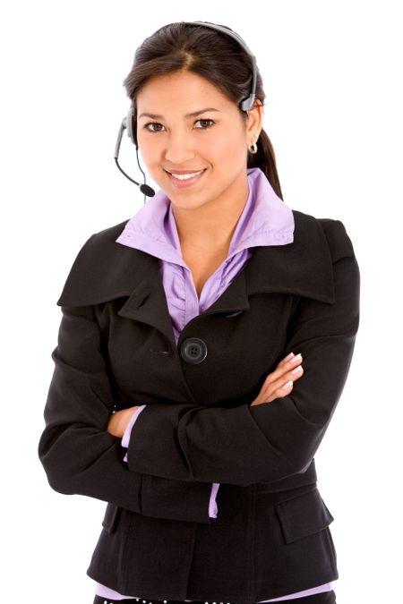 business customer support operator woman smiling - isolated on white