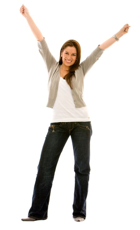 casual woman looking happy with her arms up ? isolated