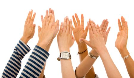 many hands of participation isolated over a white background