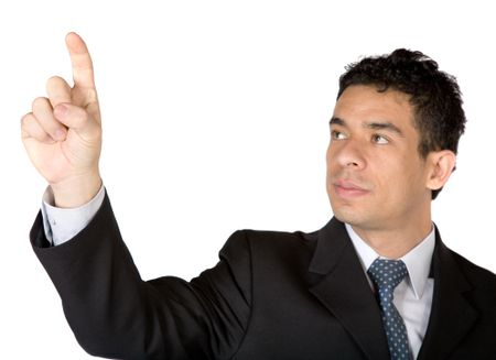 business man pointing at screen over a white background