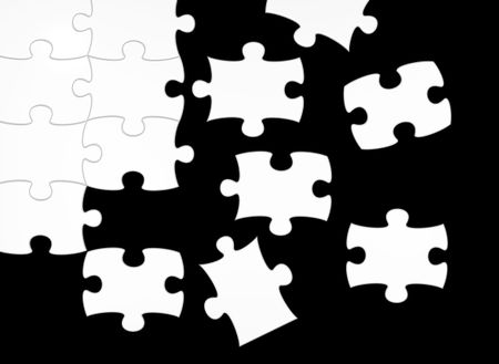 black and white puzzle - positive and negative contrast - 3d render