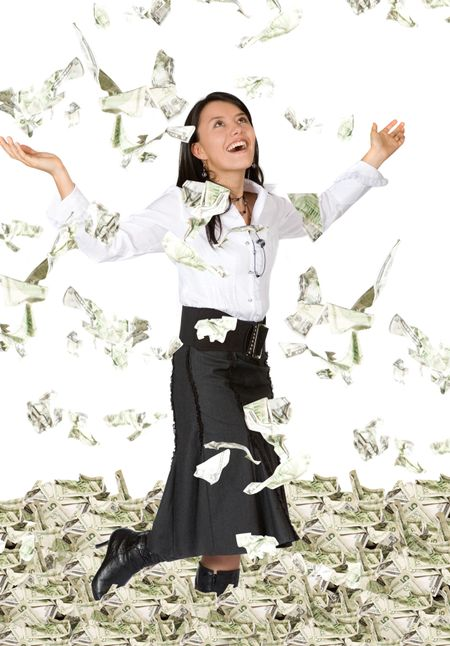 business woman with lots of money looking very happy over white
