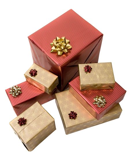 gifts in gold and red over a white background seen from a high angle
