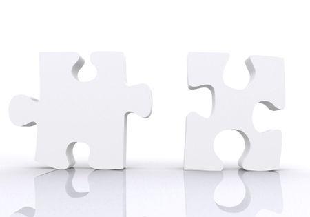 white puzzle pieces - teamwork concept on white