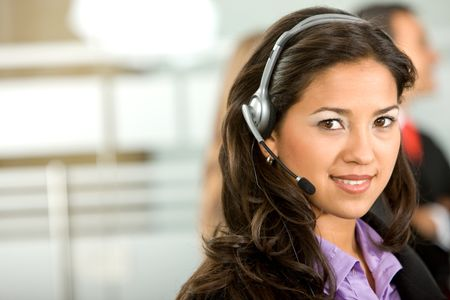 customer support operator woman in an office