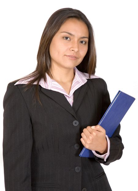 business woman with folder over a white background