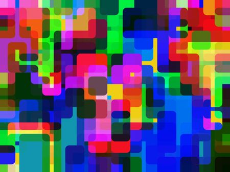 Snazzy multicolored abstract of urban multiplicity, with rounded polygons overlapping for 3-D effect