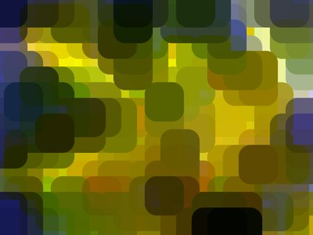 Multicolored abstract of squares with rounded corners, overlapping for 3-D effect
