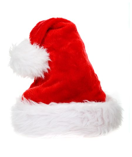 red christmas hat, perfect isolation with a nice bulky body to it so you can easily put it on most objects naturally