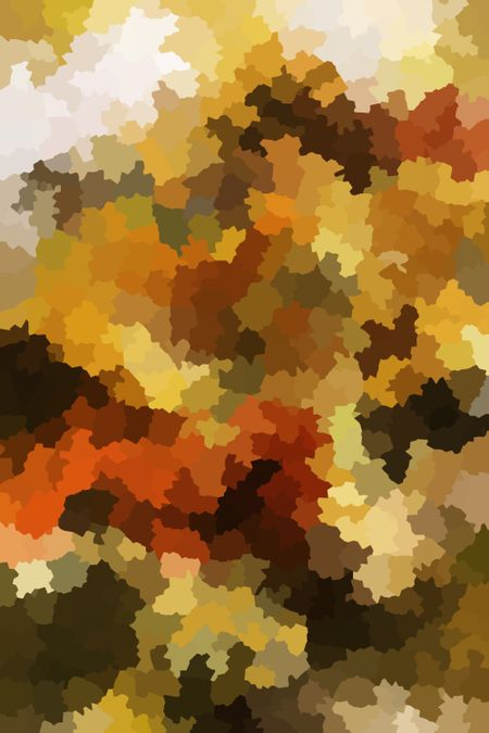 Abstract multicolored foliage finale with many interlocked serrated polygons