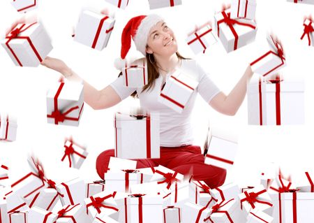christmas gifts rainning on a female santa over white