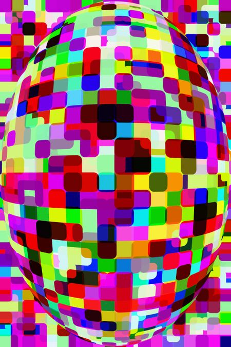 Snazzy psychedelic American football: Abstract 3-D illustration with rounded squares and rectangles like a patchwork of bandages of various colors on a similarly colorful background