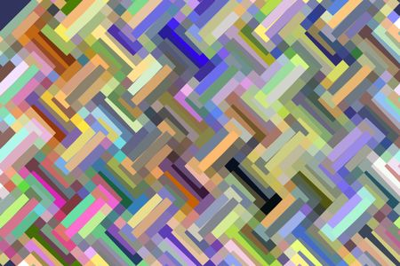 Multicolored abstract mosaic of zigzagging solid bars for motif of multiplicity